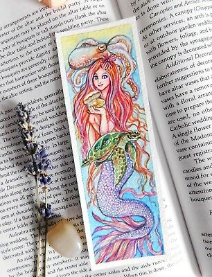 Original Bookmark Watercolor Painting 2x6 Holding Pearl Mermaid Art by Patricia