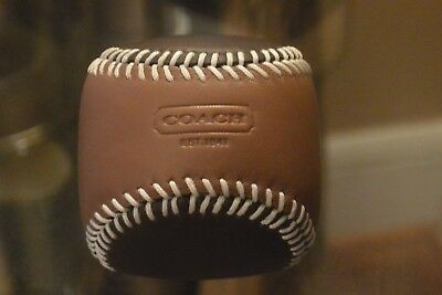 """COACH Leather Baseball Paperweight """"New"""""""