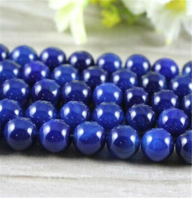 "1pcs Lapis lazuli jade Gemstone Loose bead 15"" Accessories Makings Spacer Hole"