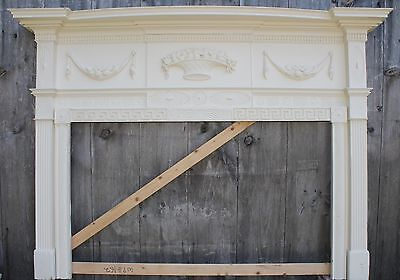 18th Century Fireplace Mantel Chip Carved Pinwheels, Ovals, W Added Swags,Basket