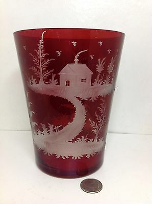 Antique Czechoslovakia Cut Glass Vase Etched Scene Cranberry Cut to Clear
