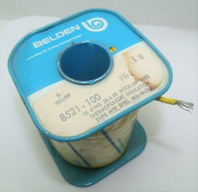 100 ft spool 16 awg wire Vintage Belden 8521 yellow stranded hook up