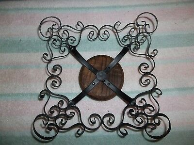 Vintage Wrought Iron Metal and Wood Scroll Filigree Ornate Bowl Spain