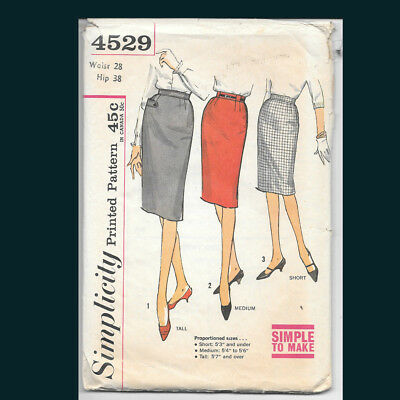 Vintage Simplicity Pattern 4529 Skirts in Proportioned Sizes Waist 28