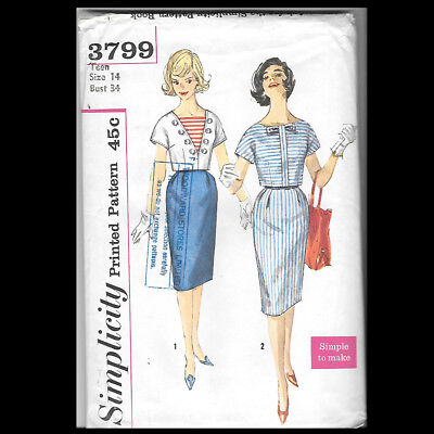 Vintage Simplicity Pattern 3799 Teen and Junior Skirt and Blouse Size 14