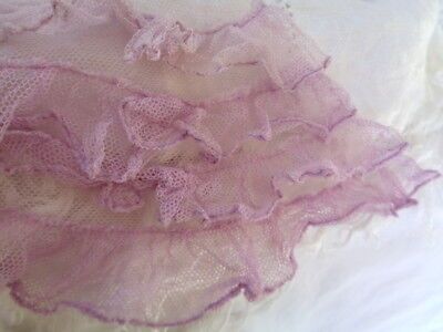 """Exceptional Antique French Tulle Ruffled Fragment 5"""" By 8"""" Soft Violet"""