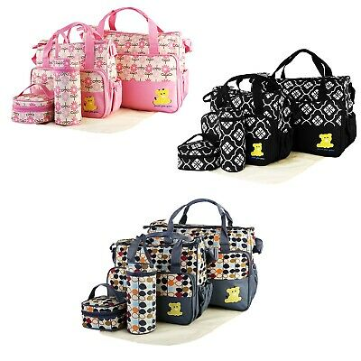 5 Piece Multi-functional Mommy Mother Handbag Baby Changing Diaper Nappy Toy Bag