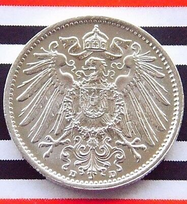GERMAN EMPIRE 1 MARK 1914 D 90% Silver Reich WW1 NICE Old Coin History UNC +RARE