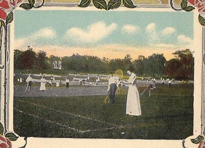 Women Playing Tennis 1910 Mixed Doubles Postmarked @ Smithfield, PA
