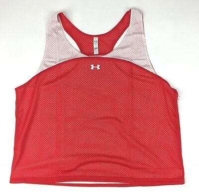 New Under Armour Lacrosse Ripshot Pinny Women's Large Red White Mesh $20 1252092