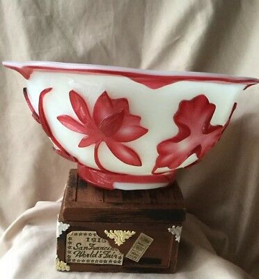 Antique OLD Chinese Carved Peking GLass Overlay Red Bowl  Water Lily