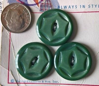 "3 Vtg Midcentury Shy Green MOP Buttons carded ""Galalith""! & Bonnie Heather! :->"