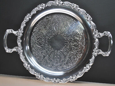 "Beautiful Antique Onieda Silver Plate  Tray/platter Circa Late1800's 15"" Round"