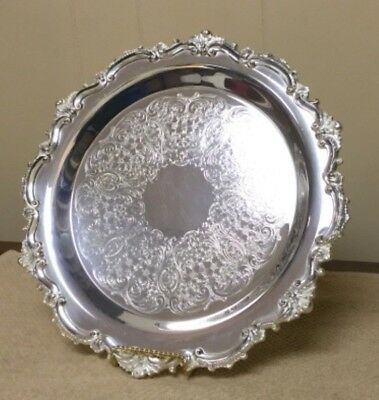 """EPCA Bristol Silverplate by Poole 13"""" Embossed Footed Tray with Elegant Border-7"""