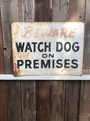 Vintage Beware Of Dog Sign From The 60s