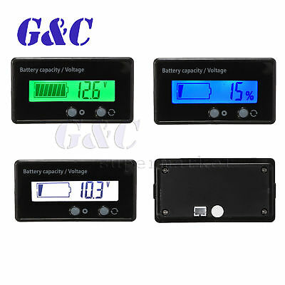 12/24/36/48V Acid Lead Lithium Battery Capacity Indicator 6-63V LCD Voltmeter