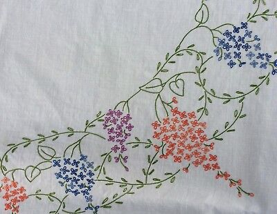 VINTAGE 1950s Hand Embroidered Table Cloth LINEN, SQUARE Blue Lazy Daisy
