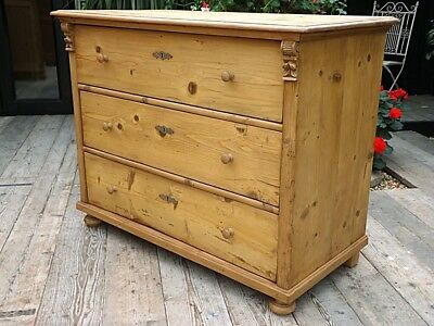 Gorgeous! Old Antique Stripped Pine Chest Drawers/ Sideboard. We Deliver!
