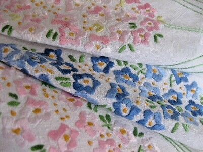 Vintage Hand Embroidered Linen  Table Cloth = Lots Of Delicate Floral Embroidery