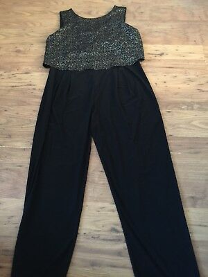 WOMENS DOROTHY PERKINS BLACK AND GOLD JUMPSUIT size 12 NEW
