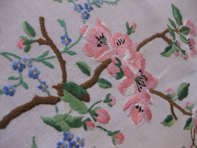 Vintage Hand Embroidered Linen Table Cloth  Exquisite Raised Floral Embroidery