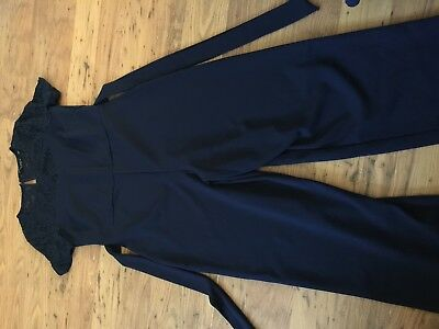 WOMENS DOROTHY PERKINS BLUE JUMPSUIT WITH LACE NECKLINE size 12 NEW