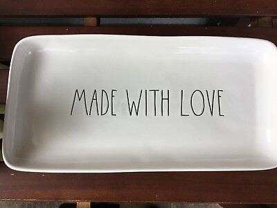 """RARE Rae Dunn """"MADE WITH LOVE"""" 14x 7 inch Large Platter LL HTF"""