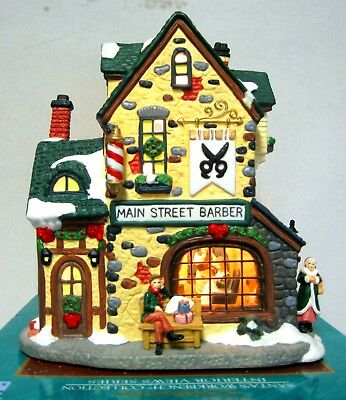 Lit Village W/ Real Glass Windows & 3D Interior View Main St. Barber Shop In Box