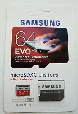 Samsung EVO PLUS 64 GB, Class 10 micro SD Write speed 20MB/s Read speed 80MB/s