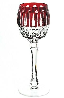 "Faberge Imperial Xenia Ruby Red Cut to Clear Cased Crystal Wine Goblet 8.25"" New"
