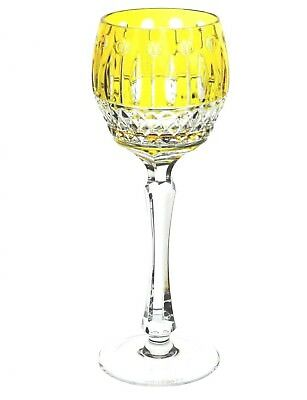 "Faberge Imperial Xenia Yellow Cut to Clear Cased Crystal Wine Goblet 8.25"" New"
