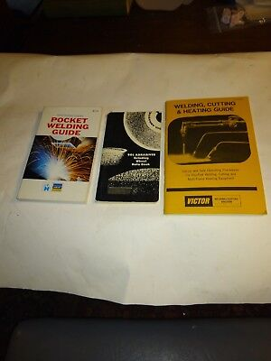 Lot of 3 VINTAGE  VICTOR WELDING CUTTING HEATING ,pocket guide,grinding BOOKLETs