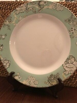 Waverly Country Life Mint Green & Gray  Floral Set Of 4 Dinner Plates Farmhouse