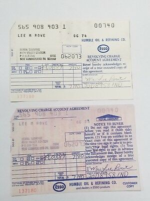 Vintage 1973 ESSO HUMBLE OIL COMPANY Gas Credit Card Receipt SERVICE STATION