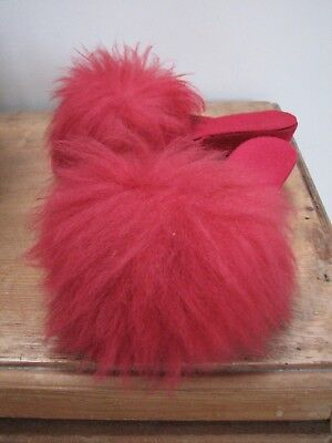 Vintage Red Very Fluffy Furry Mules Slippers Size 6 Wedge Heels