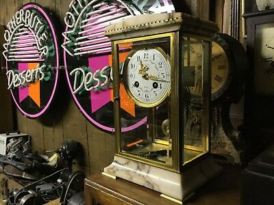 Very rare antique french crystal regulator marble clock, flawless condition