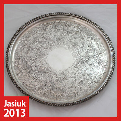 old vintage antique England Silver Plated Brass Metal Drink Tray Tealight Plate