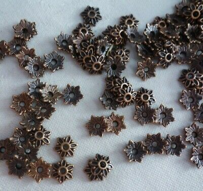 50 Antique Copper Coloured 7mm Flower Bead Caps bc0176 Jewellery Making Findings