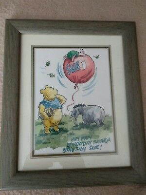 Unique Pooh Bear framed painting. Idea Birthday gift for a Pooh fan named Sue!
