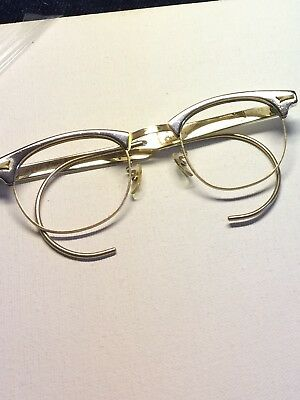 🍁 1/10 12k gold filled1960s NEW OLD STK🍁 MENS GOLD EYEGLASS FRAME Cable temple