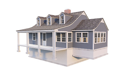 2 Story Farmhouse Plans DIY 3 Bedroom Country House Farm Home 1620 sq/ft NEW