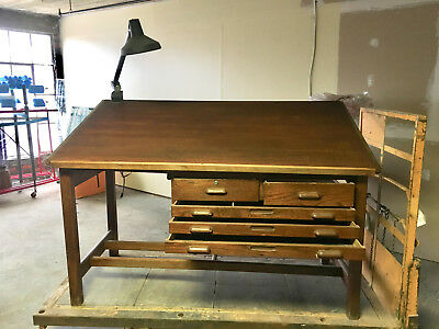Vintage DRAFTING TABLE w/light, industrial antique tilting wood architect dining