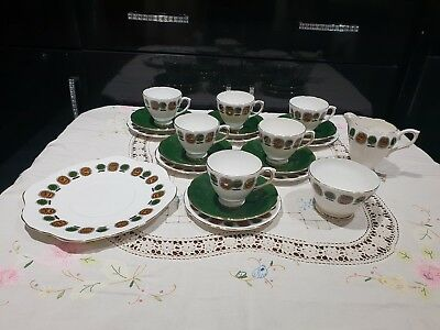 Vintage Retro Sutherland Tea Set Service Cups Saucers Plates 21pcs Green China