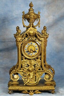 Ornate Antique French Cathedral Bronze Clock 19th Century Marti Medal