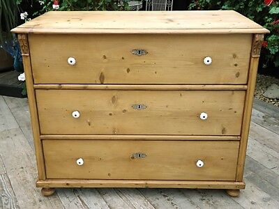 Fabulous! Old Antique Stripped  Pine Chest Of Drawers/ Sideboard. We Deliver!