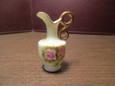 Vintage Small Ceramic Creamer - Pitcher - Urn - LEFTON - Rose Decoration