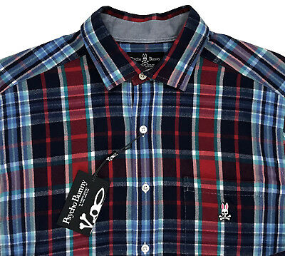 Men's PSYCHO BUNNY Red Blue Colors Plaid Flannel Cotton Shirt L Large NWT NEW