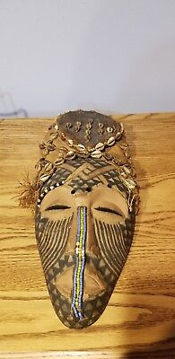 African Ceremonial Tribal Shell, Glass Bead, Burlap Painted Folk Art Mask 16""