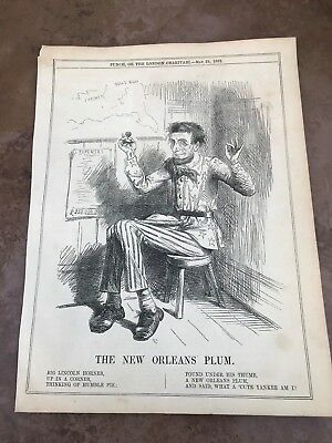 1862 cartoon print . abe lincoln - the new orleans plum !