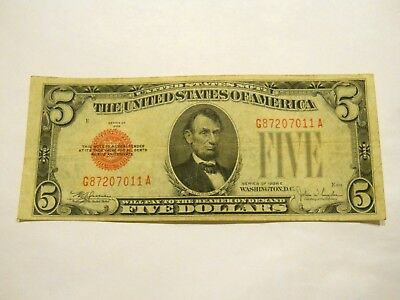 1928-E $5.00 United States Red Seal Note